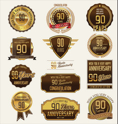 anniversary golden labels and badges 90 years vector image