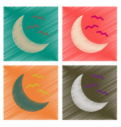 Assembly flat shading style icons halloween moon vector