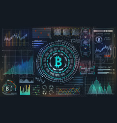 bitcoin with hud elements btc bit coin virtual vector image