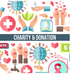 Blood donation and charity foundation financial vector
