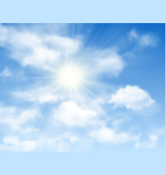 blue sky background with sun and white clouds vector image