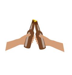 Bottle of bear brown in hands vector