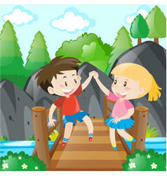 boy and girl holding hands on bridge vector image