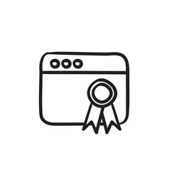 browser window with winners rosette sketch icon vector image