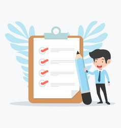 Businessman holding pencil with clipboard and vector