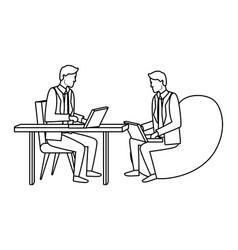 businessmen teamwork avatar in black and white vector image
