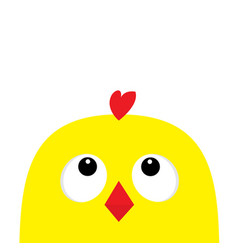 Chicken head face big eyes red beak looking up vector