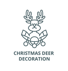 christmas deer decoration line icon vector image