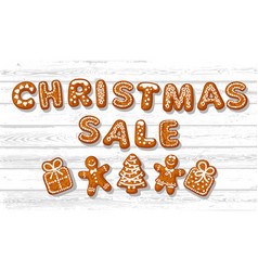 Christmas sale poster text made gingerbreade vector