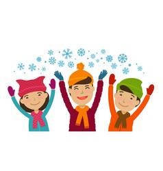 christmas winter wintertime concept children vector image