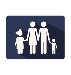 color silhouette frame with family nucleus vector image