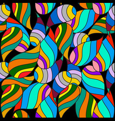 colorful striped paisley seamless pattern vector image