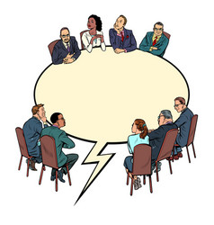 Comic book bubble meeting business people vector