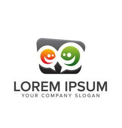 Comment people logo teamwork communication vector