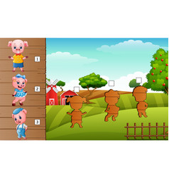 cute three little pigs collection set find the co vector image