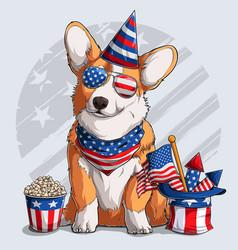 Cute welsh corgi dog sitting 4th july elements vector