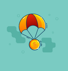dollar coin fly with parachute flat design vector image