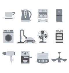 Domestic Equipment black and white icons vector image