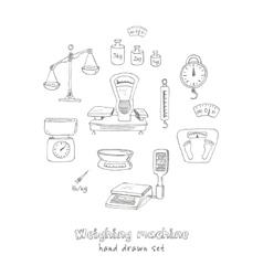 Doodle weighing machine set tools vector