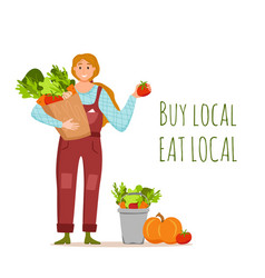 Eat local organic products cartoon concept vector