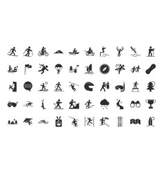 extreme sport active lifestyle silhouette icons vector image