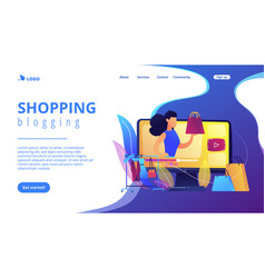 Fashion blog concept landing page vector