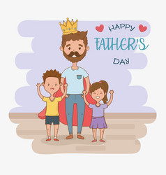 father and kids characters card vector image