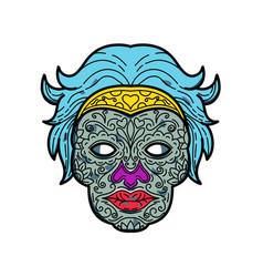 female calavera sugar skull mono line vector image