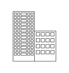 Figure buildings and city scene line sticker vector