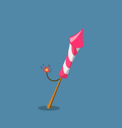 firework rocket in cartoon style pink petard vector image