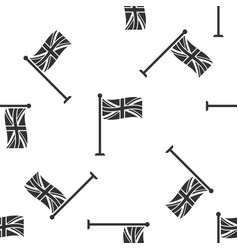 flag of great britain on flagpole seamless pattern vector image