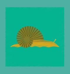 Flat shading style snail vector