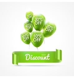 Flying colored balloons with ribbon and discount vector