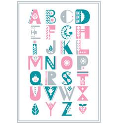 Folk alphabet decorated with nordic folk vector