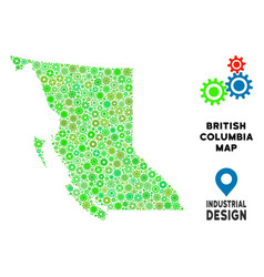 Gears british columbia province map composition vector