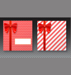 gift boxes with big red bow and ribbon on vector image