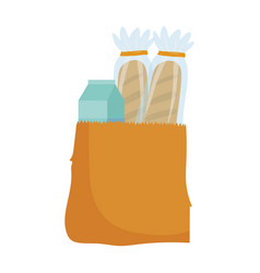 grocery food bread and juice box isolated icon vector image