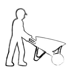 Grunge pictograph laborer with wheelbarrow vector