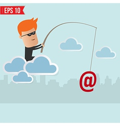 Hacker steal data on cloud computing for phishing vector image