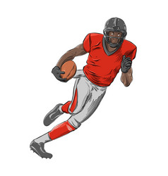 hand drawn sketch american football player vector image