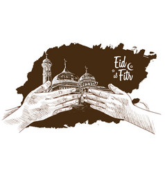 Hand forgive and mosque drawn on white vector