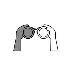 hands human with binoculars view isolated icon vector image