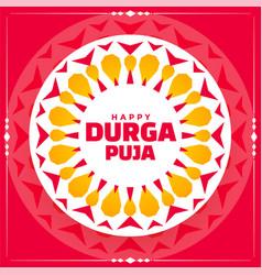 Happy durga pooja rangoli style design background vector