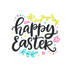 happy easter poster with hand lettering vector image