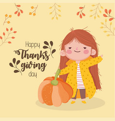 happy thanksgiving day cute girl with pumpkin vector image