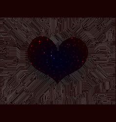 Heart space filled with bright stars surrounded vector