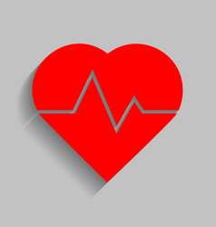 heartbeat sign red icon with vector image