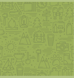 hiking and camping seamless pattern in line style vector image