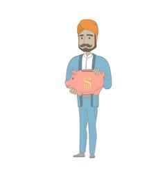 Hindu businessman holding a piggy bank vector
