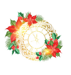 holiday simbol with poinsettia flower decor vector image